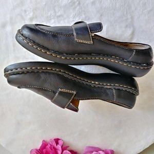 Born Leather Black Slip on Mules